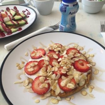 Strawberry and almond sweet potato waffle